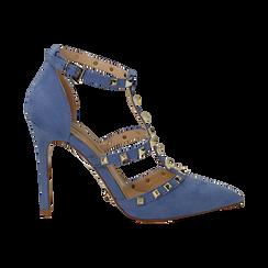 Décolleté azzurre in microfibra con cinturino a T borchiato, tacco 10,5 cm  , Scarpe, 132146820MFAZZU037, 001 preview