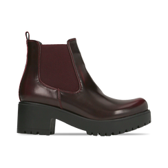 Chelsea Boots bordeaux con suola alta, tacco 5,5 cm, Scarpe, 122808601ABBORD, 001 preview