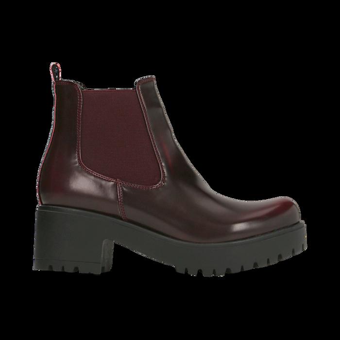 Chelsea Boots bordeaux con suola alta, tacco 5,5 cm, Scarpe, 122808601ABBORD