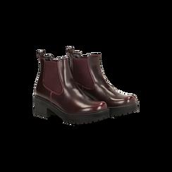 Chelsea Boots bordeaux con suola alta, tacco 5,5 cm, Scarpe, 122808601ABBORD, 002 preview