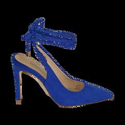 Slingback lace-up blu cobalto in microfibra, tacco 10 cm , Primadonna, 152120715MFBLCO035, 001 preview