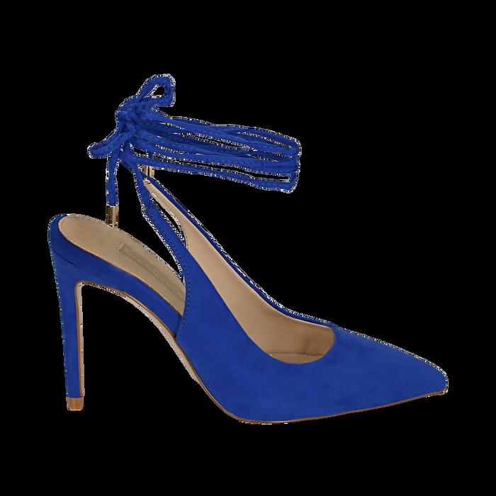 Slingback lace-up blu cobalto in microfibra, tacco 10 cm , Primadonna, 152120715MFBLCO035