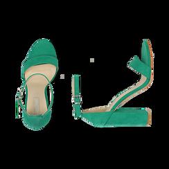 Sandali verdi in microfibra, tacco 10,50 cm, Scarpe, 152706086MFVERD035, 003 preview