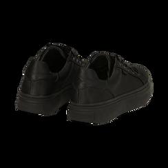 Sneakers nere in tessuto, suola 4 cm, Scarpe, 142509512TSNERO036, 004 preview