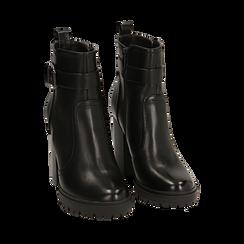 Ankle boots neri, tacco 10 cm , 160597722EPNERO037, 002a