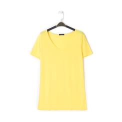 T-shirt con scollo a V gialla in tessuto, Saldi Estivi, 13F750713TSGIALL, 001a