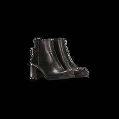 Tronchetti neri in vera pelle, tacco 5 cm, Primadonna, 128900310VINERO036, 002
