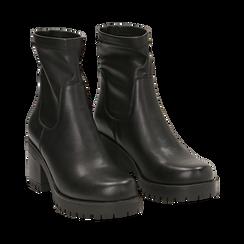 Biker boots neri in eco-pelle, tacco 7 cm , Stivaletti, 142828200EPNERO, 002 preview
