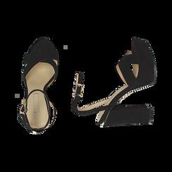 Sandali neri in microfibra con plateau, tacco 12 cm, Sandali con tacco, 152133001MFNERO035, 003 preview