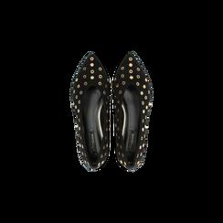 Ballerine nere in microfibra scamosciata e mini-borchie, tacco basso, Primadonna, 124991821MFNERO035, 004 preview