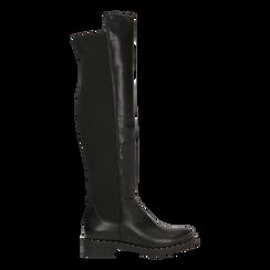 Stivali neri con gambale lungo elasticizzato, tacco basso, Scarpe, 120682917EPNERO037, 001a
