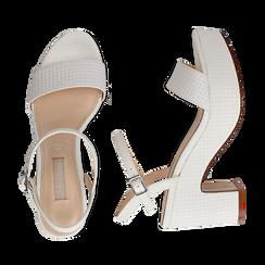 Sandali con plateau bianchi in eco-pelle, tacco 9 cm , Sandali con tacco, 138402256EIBIAN037, 003 preview