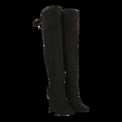 Stivali sopra il ginocchio neri, tacco stiletto 11 cm, Scarpe, 122146868MFNERO, 002 preview