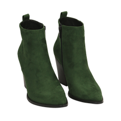 Ankle boots verdi in microfibra, tacco 8,50 cm, Primadonna, 160585965MFVERD035, 002a