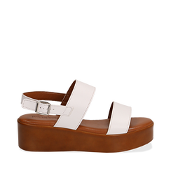 Sandali platform bianchi in eco-pelle, zeppa 5 cm , Primadonna, 13A133254EPBIAN036, 001a