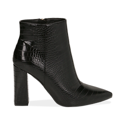 Ankle boots neri stampa cocco, tacco 9,5 cm ,