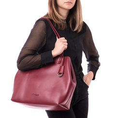 Borsa grande bordeaux in eco-pelle abrasivata, Borse, 143764100ABBORDUNI, 002 preview