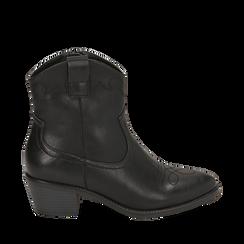 Botines de eco-piel en color negro, tacón 4,50 cm, Primadonna, 150693111EPNERO035, 001a