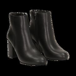 Ankle boots neri in eco-pelle, tacco 7, 50 cm , Stivaletti, 142762715EPNERO036, 002 preview