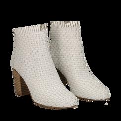Ankle boots bianchi in pelle intrecciata, tacco 8 cm, Scarpe, 13C515018PIBIAN035, 002a