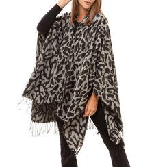 Poncho nero stampa leopard, Primadonna, 16B417318TSNEROUNI, 001a