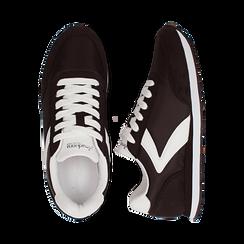 Sneakers nere in tessuto, design aerodinamico, Scarpe, 132619024TSNERO036, 003 preview