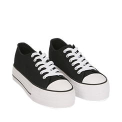 Sneakers nere in canvas, Sneakers, 152619385CANERO035, 002a