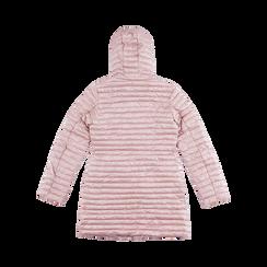 Piumino lungo rosa nude con cappuccio, Saldi, 128500502TSNUDE, 006 preview