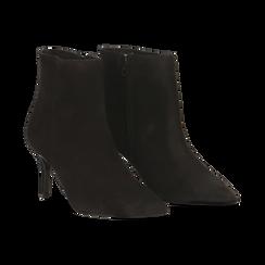 Tronchetti neri in vero camoscio, tacco midi 8 cm, Primadonna, 12D618502CMNERO, 002 preview