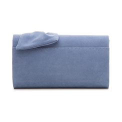 Pochette azzurra in microfibra con fiocco, Borse, 132300508MFAZZUUNI, 003 preview
