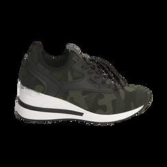 Sneakers en tejido con cuña color camuflaje, Primadonna, 152803421TSMILI037, 001 preview