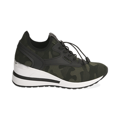 Sneakers camouflage in tessuto con zeppa, Primadonna, 152803421TSMILI037, 001 preview