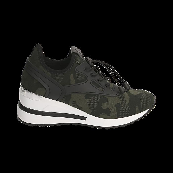 Sneakers camouflage in tessuto con zeppa, Primadonna, 152803421TSMILI037