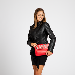 Pochette bustina rossa in ecopelle con oblò dorati, Borse, 123308604EPROSSUNI, 004