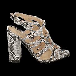Sandali cage bianco/neri stampa pitone tacco 10,5 cm, Primadonna, 152760843PTBINE036, 001 preview