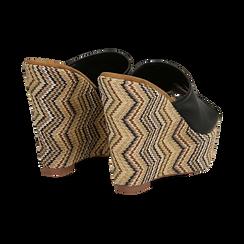 Mules platform nere in eco-pelle, zeppa intrecciata 13 cm, Primadonna, 132117214EPNERO035, 004 preview