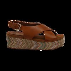 Sandali platform cuoio in eco-pelle, zeppa intrecciata 5 cm, Primadonna, 132117952EPCUOI035, 001 preview