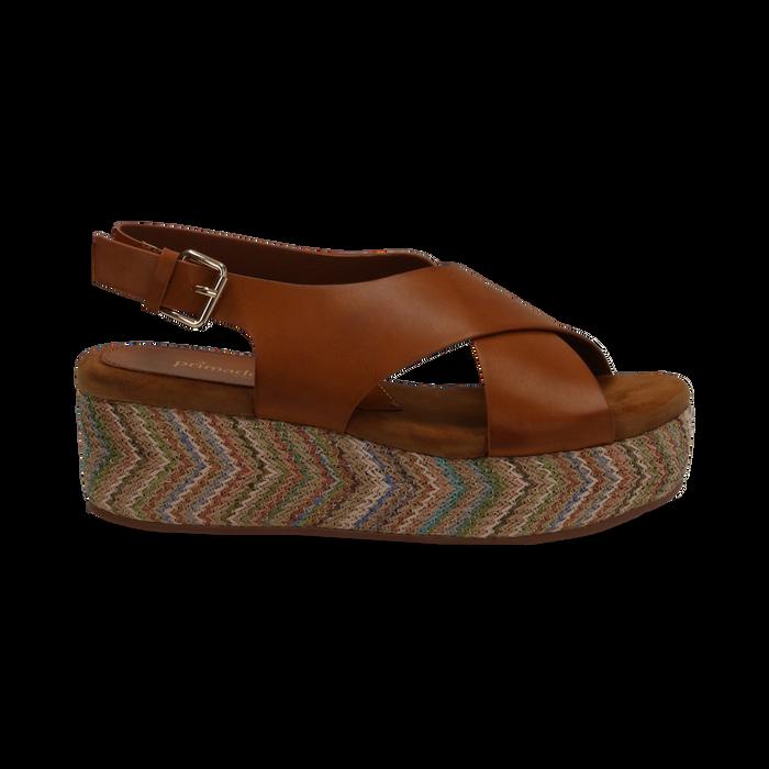 Sandali platform cuoio in eco-pelle, zeppa intrecciata 5 cm, Primadonna, 132117952EPCUOI035