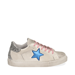 Sneakers bianche con stella , Chaussures, 15F999101EPBIAN035, 001a