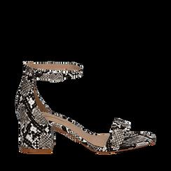Sandali bianco/nero in eco-pelle effetto snake skin, tacco 5,5 cm, Scarpe, 132707031PTBINE036, 001a