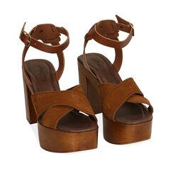 Sandales en daim cognac, talon de 10,5 cm, 174304899CMCOGN036, 002a