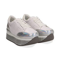 Sneakers bianche in eco-pelle con platform argento, Scarpe, 130751703EPBIAR036, 002 preview