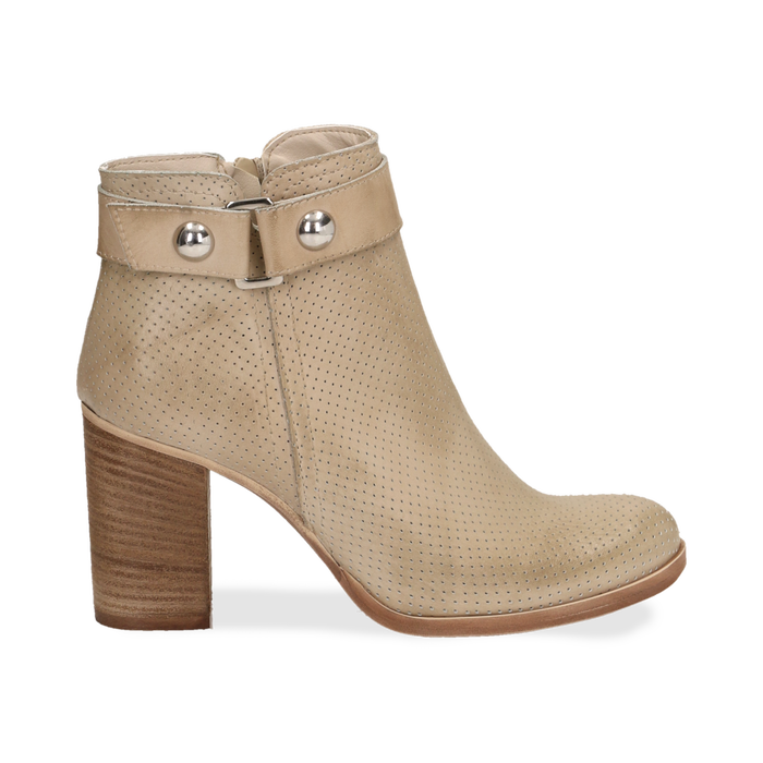 Ankle boots beige in vitello , Scarpe, 138900604VIBEIG036