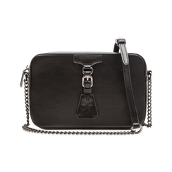 Camera bag nera con tracolla, ecopelle, Saldi, 121818008EPNEROUNI, 001 preview