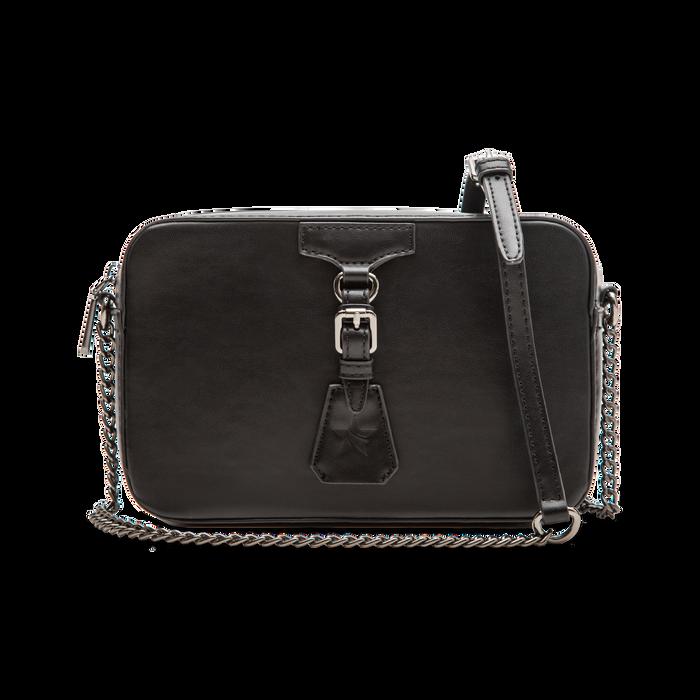 Camera bag nera con tracolla, ecopelle, Borse, 121818008EPNEROUNI