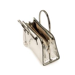 Bolsa de mano en eco-piel con estampado de cocodrilo color plateado, Bolsos, 155702495CCARGEUNI, 004 preview