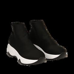 Sneakers a calza nere in lycra, zeppa 5 cm , Scarpe, 142008357LYNERO036, 002a