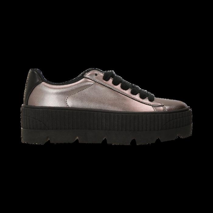 Sneakers canna di fucile con suola extra platform zigrinata, Scarpe, 122618776EPCANN