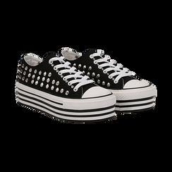 Sneakers nere in canvas con borchie, platform 4 cm, Scarpe, 132619223CANERO037, 002 preview