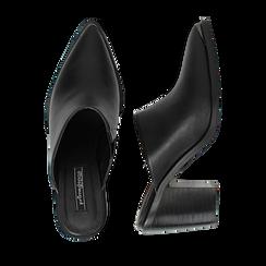 Mules nere in eco-pelle, tacco 8 cm , Scarpe, 142708158EPNERO036, 003 preview